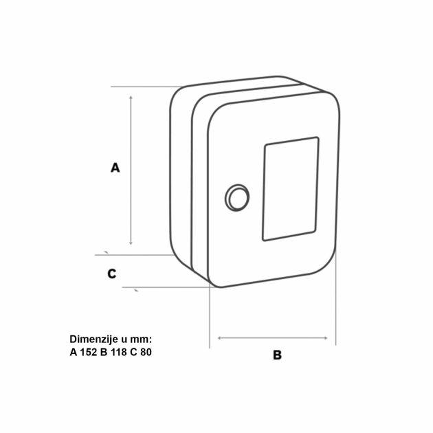 Ormarić za ključeve izrađen od čeličnog lima crvene boje, u kombinaciji sa staklom i bravicom za zaključavanje.