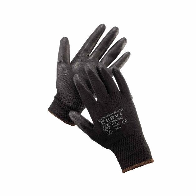 Radne zaštitne rukavice pletene bešavne, sa tankim slojem poliuretana na dlanu i prstima.
