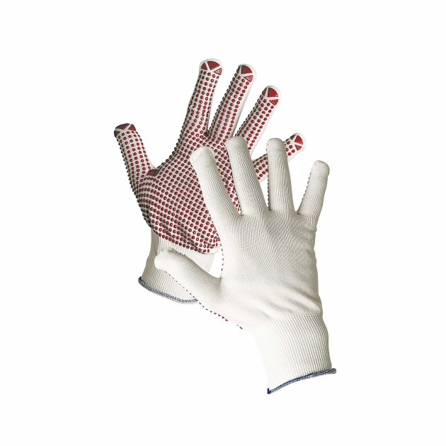 Knitted seamless nylon gloves, with PVC dots on palm and fingers and elastic knitted wrist.