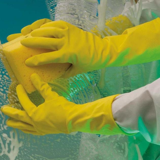 Radne zaštitne rukavice za pranje, od lateksa, žuta boja.