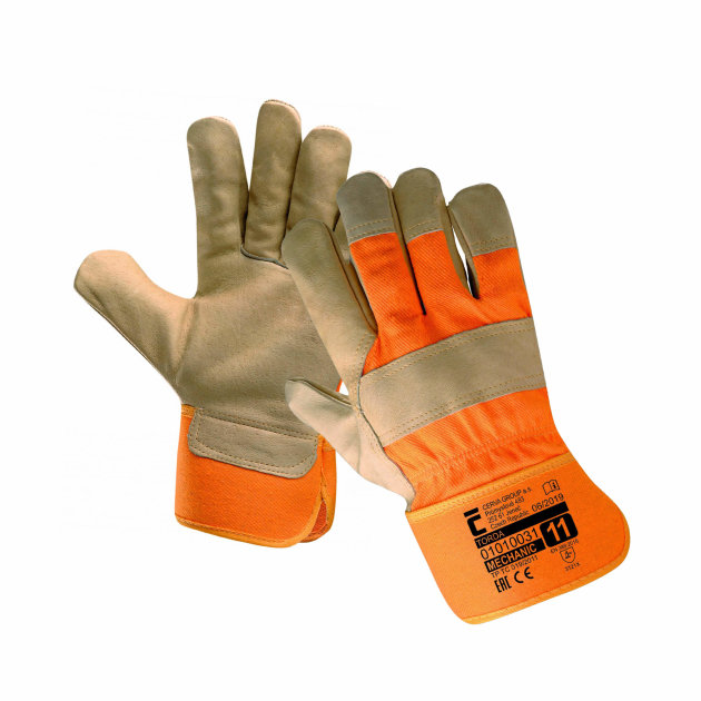 Torda work protective gloves with cotton lining, fine grain leather palm and fingers and quality cotton back.