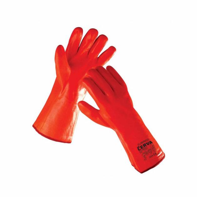 Zaštitne radne rukavice Flamingo, šivane pamučne rukavice presvučene PVC-om, dužine 27 cm.