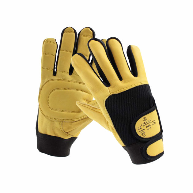 Antivibration leather glove Arkad with reinforcement on the palm. Ideal for mechanical work. Extra pads on the palm protect your hands from vibration.