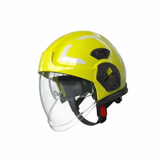 The PAB Fire 05 High Visibility helmet is a fire helmet for interventions. Its appearance and design allow for high visibility in the dark and smoke.