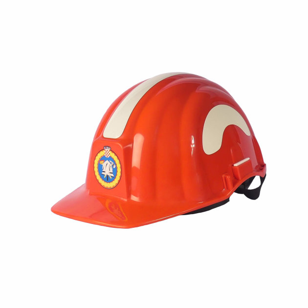 Fire helmet for forest fire PAB III FF, with pull-out visor and neck protection.