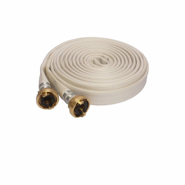 High-pressure fire hose with brass Storz couplings, for firefighting interventions.