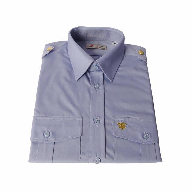 A firefighter's work shirt is worn alongside a firefighter's work suit at firefighting competitions or assemblies. Blue work shirt for firefighters.