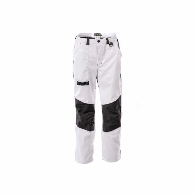 Radne zaštitne hlače Spektar, bijele, sa dodatnim pojačanjem na koljenima