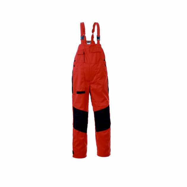 Radne farmer hlače Spektar, sa podesivim tregerima, crvene