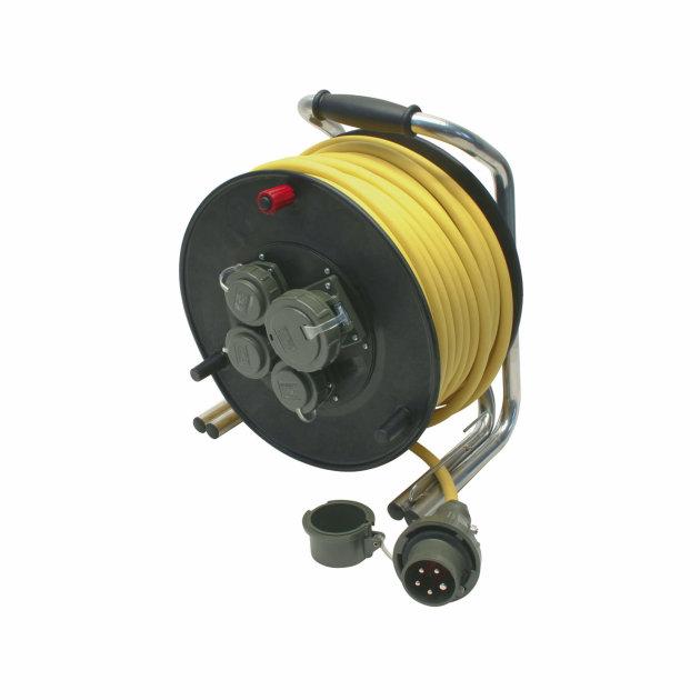 Produžni kabel za struju 230 V/400 V, 16 A DIN 14680, 50 m, na kolutu sa motalicom