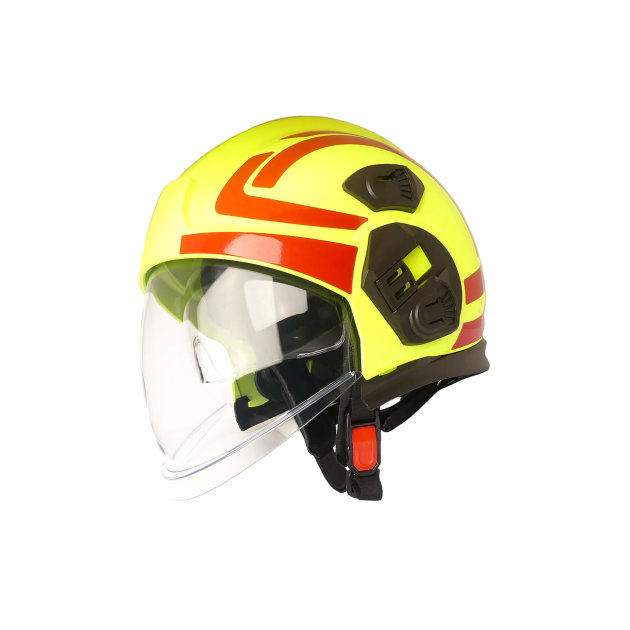 The PAB Fire 05 High Visibility, Tirol helmet is a fire helmet for interventions. Its appearance and design allow for high visibility in the dark and smoke.
