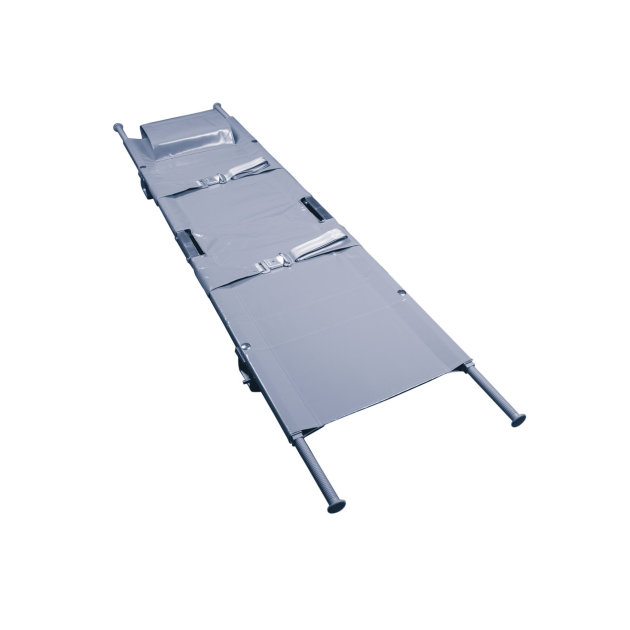 Stretcher for rescue and transport of injured persons, single or double foldable.