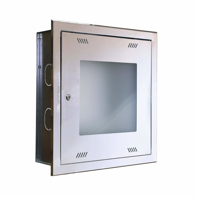 Wall hydrant cabinet HO-2B, concealed, glass door, INOX housing.