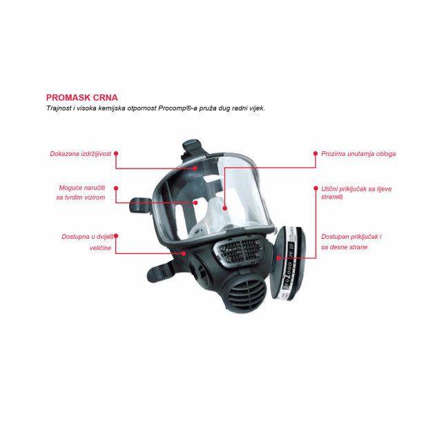 Maska za lice puna Scott Promask 2000, komplet sa filterom Scott Safety Pro2000.